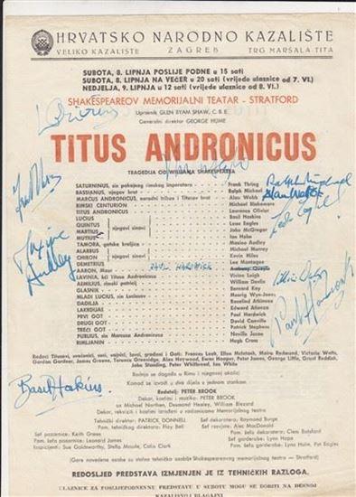 Picture of Laurence Olivier, Vivien Leigh i ostali, potpisi / autographs: Titus Andronicus, redatelj Peter Brook, programski plakat