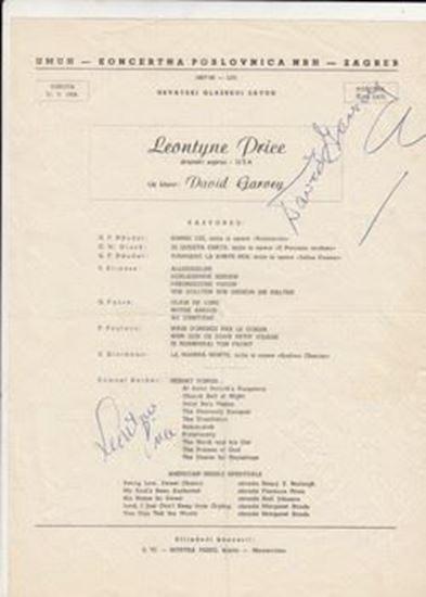 Picture of Leontyne Price i David Garvey, potpisi / autographs: Programski plakat za koncert