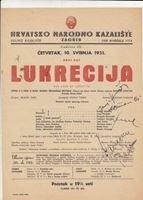 Picture of Marijana Radev, Ivan Francl, Janja Hanžek, potpisi : Lukrecija, redatelj Vladimir Habunek, programski plakat