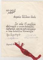 Picture of Boris Papandopulo, Richard Simonelli, potpisi: Zahvalnica Nadi Talisman, Komedija