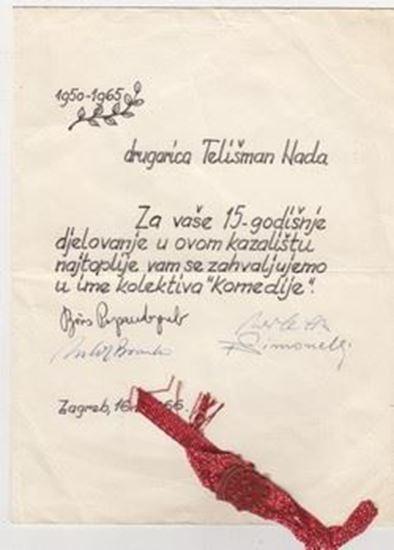 Picture of Boris Papandopulo, Richard Simonelli, potpisi: Zahvalnica Nadi Tališman, Komedija