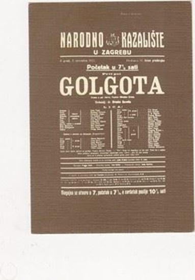 Picture of Golgota Miroslava Krleze: Razglednica s plakatom predstave, redatelj Branko Gavella