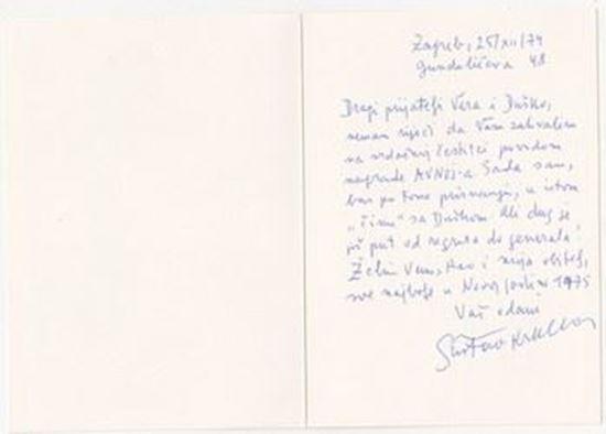 Picture of Gustav Krklec, potpis: Čestitka Dušanu Čaliću
