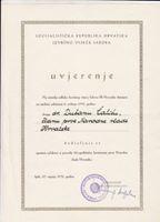 Picture of Dragutin Haramija, potpis: Uvjerenje o spomen plaketi Dušanu Čaliću