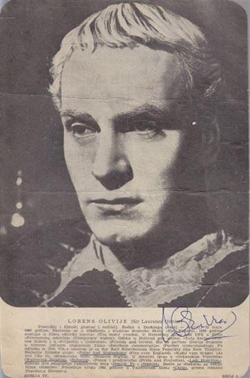 Picture of Laurence Olivier autograph: Fotografija s potpisom / signed photo
