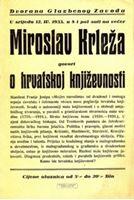 Picture of Miroslav Krleza: Plakat: MK govori o hrvatskoj knjizevnosti