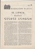 Picture of George London, potpis / autograph: Programski plakat, Tosca, redatelj Branko Gavella
