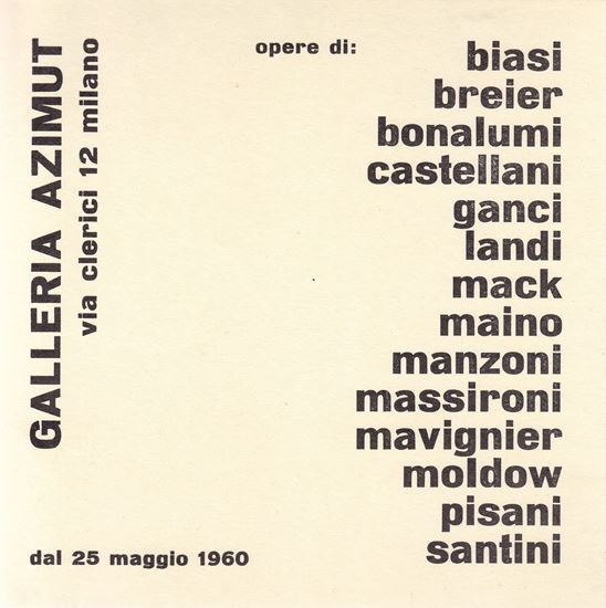 Picture of Mostra collettiva: Azimut Galleria, 1960.